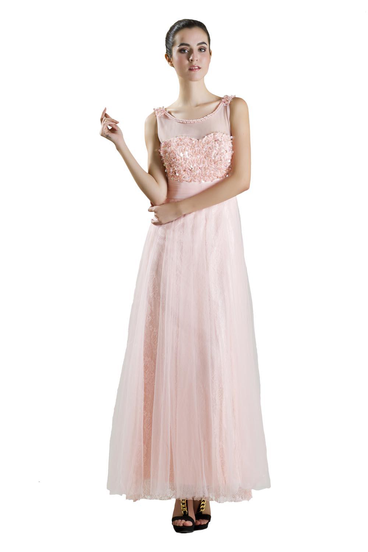 Tile Simple Lace Gown Peach